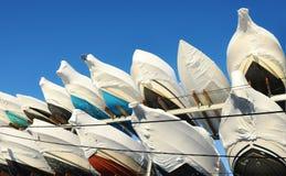 Stagione invernale delle coperture degli yacht Fotografia Stock Libera da Diritti