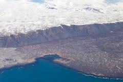 Stagione invernale naturale del litorale dell'Islanda di vista superiore Fotografie Stock