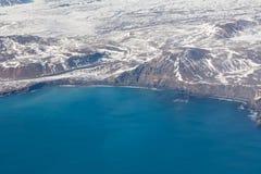Stagione invernale naturale dell'Islanda di vista aerea Fotografia Stock