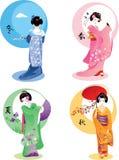 Stagioni della geisha fissate Fotografia Stock Libera da Diritti
