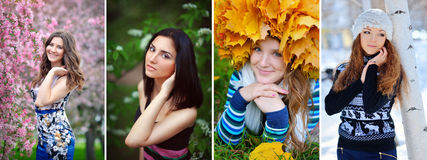 Stagioni delle ragazze del collage Immagine Stock