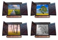 Stagioni di Fours osservate attraverso le finestre Fotografia Stock Libera da Diritti