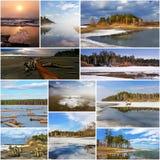 Stagioni - primavera del fiume Ob' Fotografie Stock Libere da Diritti
