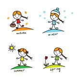 stagioni Una ragazza con un canestro e una bara, in cappello di inverno e fiocchi di neve, con un sole e un tulipano illustrazione di stock