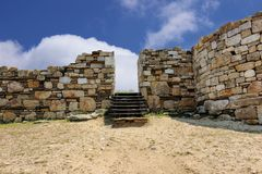 Stagira - Entrance to ancient city, born town of Greek philosopher Aristotle stock image