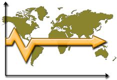 Stagnation. Arrow over world map showing stagnated future Royalty Free Stock Photo