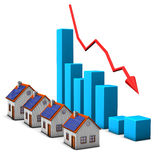 Stagnation Real Estate. Real estates with declining chart on the white background Royalty Free Stock Images