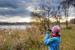 Stagni di birdwatching un giorno nuvoloso Fotografia Stock Libera da Diritti