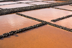 Stagni di evaporazione del sale Fotografie Stock
