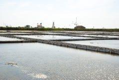 Stagni di evaporazione dell'azienda agricola del sale, Portogallo Fotografia Stock Libera da Diritti