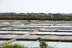 Stagni di evaporazione dell'azienda agricola del sale, Portogallo Immagine Stock Libera da Diritti