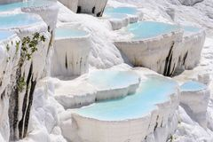 Stagni e terrazzi del travertino in Pamukkale, Turchia Fotografie Stock