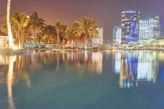 Stagno alla notte a Abu Dhabi fotografia stock