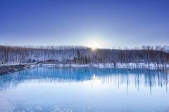 Stagno blu in Biei, Hokkaido, Giappone immagini stock