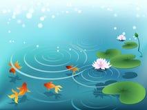Stagno con il goldfish Fotografie Stock Libere da Diritti