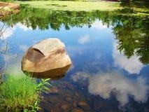 Stagno con la roccia Fotografia Stock Libera da Diritti