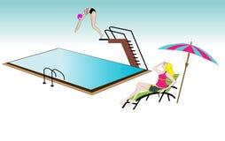 Stagno con un nuotatore e una ragazza che si trovano sulla sedia royalty illustrazione gratis