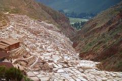 Stagno del sale in valle sacra nel Perù Immagine Stock