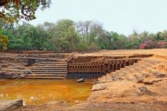 Stagno del tempio storico di Saptakoteshwar in Goa Fotografie Stock Libere da Diritti