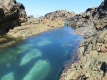 Stagno della roccia nell'isola di Lihou Fotografie Stock Libere da Diritti
