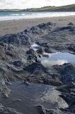 Stagno della roccia su una spiaggia della Cornovaglia Fotografia Stock