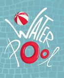 Stagno di acqua con il manifesto dell'iscrizione di Inflatables royalty illustrazione gratis