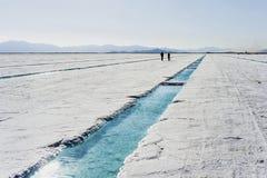 Stagno di acqua sulle saline Grandes Jujuy, Argentina fotografie stock libere da diritti