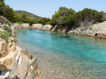 Stagno di Sa Curcurica - zona umida adorabile alla costa sarda Fotografie Stock