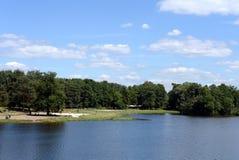 Stagno di Shibaevsky nel ` naturale-storico di Kuzminki-Lublino del ` del parco immagini stock libere da diritti