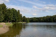 Stagno di Shibaevsky nel ` naturale-storico di Kuzminki-Lublino del ` del parco fotografie stock