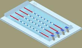 Stagno isometrico per gli sport di nuoto Riunisca nel centro sportivo illustrazione di stock