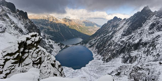 Stagno Marine Eye del nero del parco nazionale di Tatra Fotografia Stock Libera da Diritti