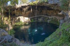 Stagno naturale esotico Cenote Zaci in Yucatan immagini stock