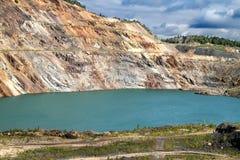Stagno senza vita nella miniera a cielo aperto Fotografie Stock Libere da Diritti