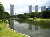 Stagno in un giardino tradizionale di Tokyo del giapponese Fotografie Stock Libere da Diritti