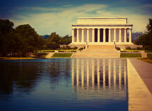 Stagno Washington di riflessione di Abraham Lincoln Memorial Fotografie Stock
