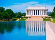 Stagno Washington di riflessione di Abraham Lincoln Memorial Fotografia Stock Libera da Diritti