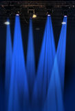 Stahe Lights. Stage lights in blue with metal rack