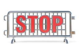 Stahl verbarrikadiert Stoppschild 3D Lizenzfreie Stockbilder
