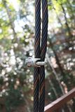 Stahlanschlagseil-Clip auf grüner Natur lizenzfreie stockfotografie