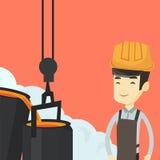 Stahlarbeiter im Hardhat bei der Arbeit in der Gießerei stock abbildung
