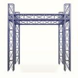 Stahlbauentwicklung des metall 3D auf Weiß Stockbilder