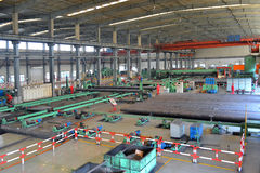 Stahlfabrik nach innen Stockbild