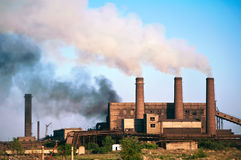 Stahlfabrik. Verunreinigung. Lizenzfreies Stockbild