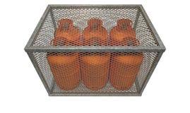 Stahlkäfig mit Gas-Flaschen Lizenzfreie Stockfotografie