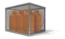 Stahlkäfig mit Gas-Flaschen Stockfotografie