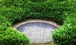 Stahlkanaldeckel im grünen Garten Lizenzfreies Stockbild