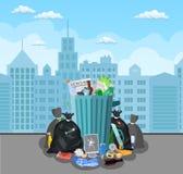 Stahlmülltonne voll Abfall lizenzfreie abbildung