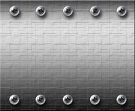 Stahlmetall Platte mit Schrauben stockfotos
