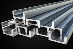 Stahlmetallprofile in der Ustange formen - Industriekonzept stock abbildung